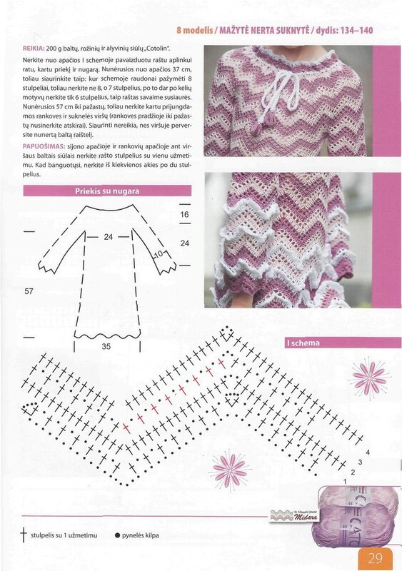 Платье для девочки зигзаг крючком схема и описание