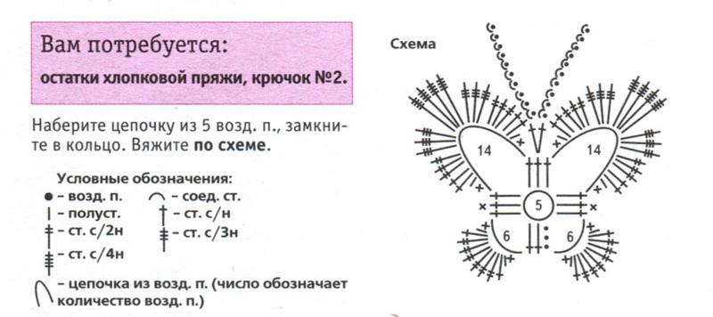 Бабочка вязание схема 9