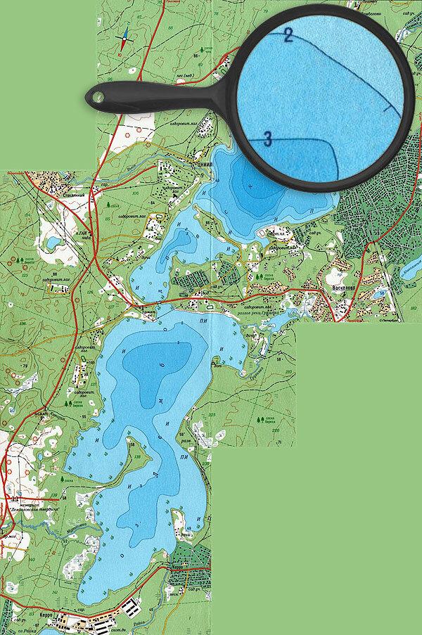 Карта глубин озера Лемболовское