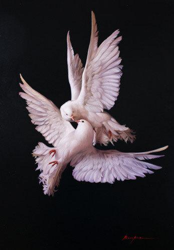 схемы вышивки крестом голуби.