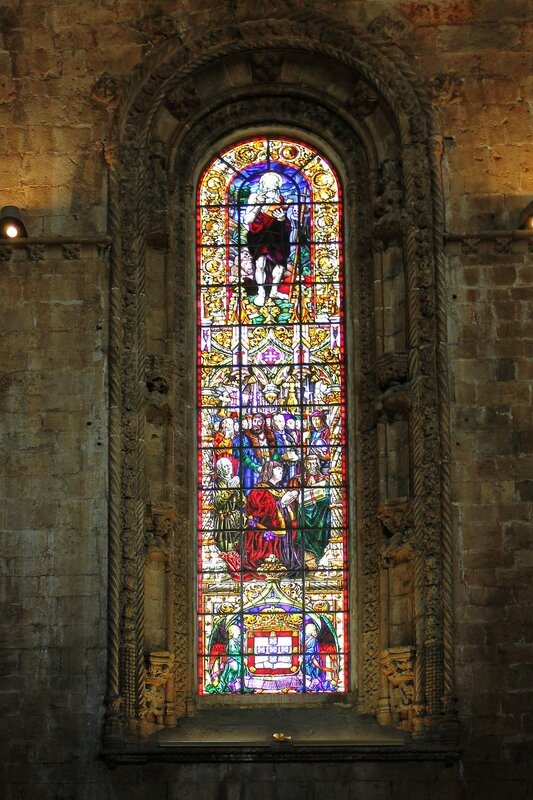 The interiors of the Church of the Jerónimos monastery. Stained glass
