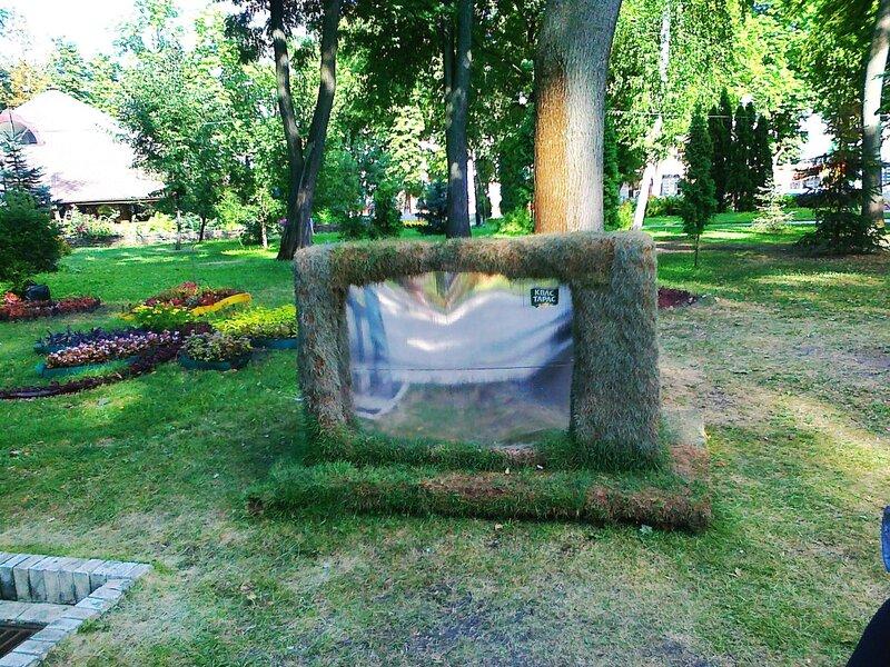 """Инсталляция из травы """"Телевизор"""""""