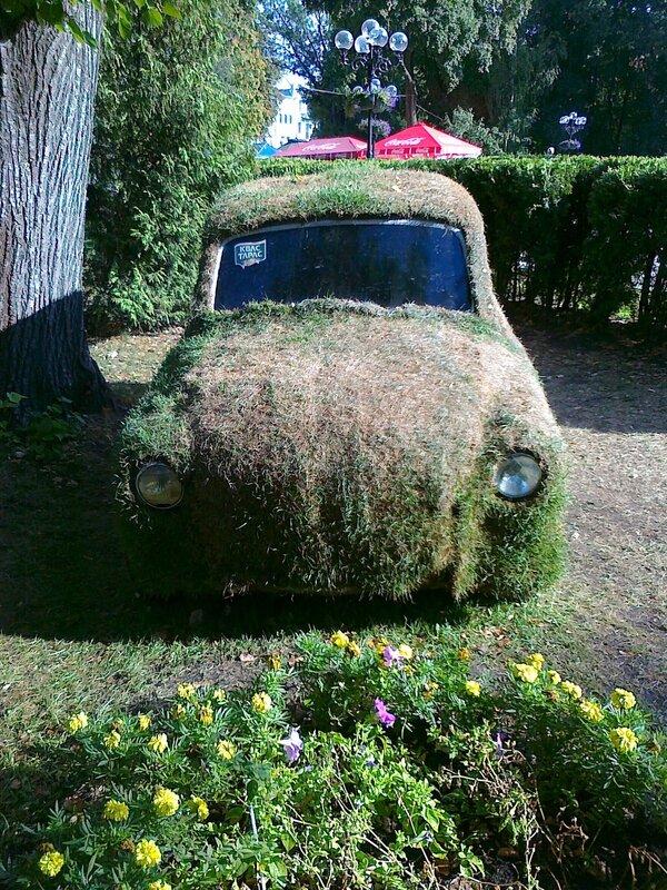 """Инсталляция из травы """"Запорожец"""""""