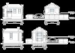 Фасад в осях Г-А, 1-4, Фасад в осях А-Г, 4-1, с отметками высот, проектное решение.