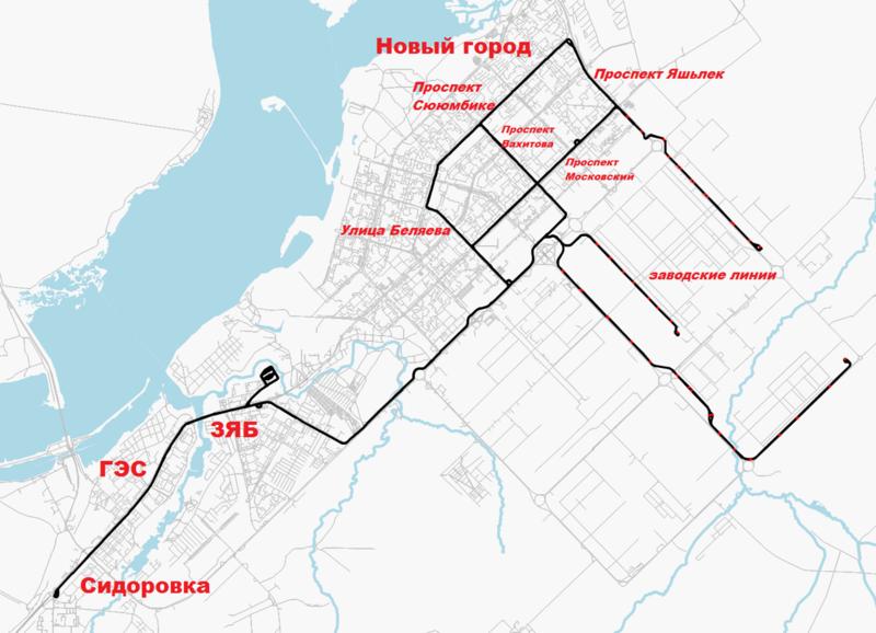 Трамвайные пути проложены по