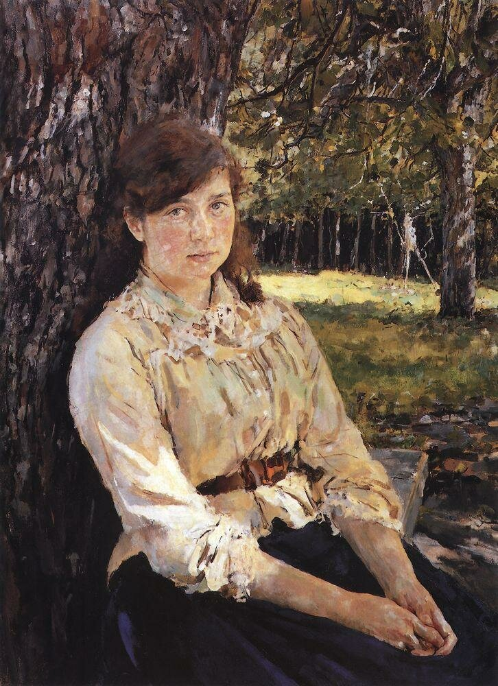 Girl in the Sunlight Portrait of Maria Simonovich 1888, by Valentin Serov (1865-1911)Девушка, освещённая солнцем, 1888, Мария Симонович, двоюродная сестра, Серов, Валентин Александрович
