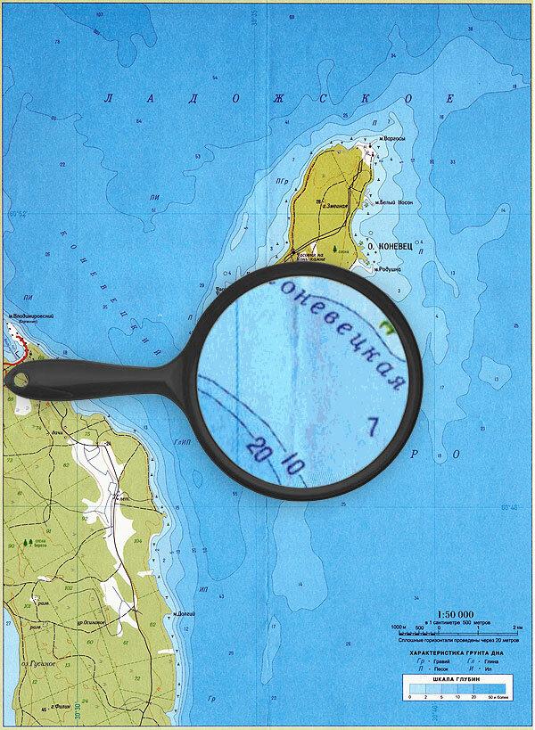 Карта глубин остров Коневец, Ладожское озеро