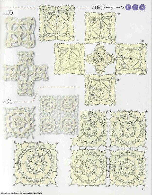 Большая подборка схем квадратных мотивов крючком разной степени сложности.