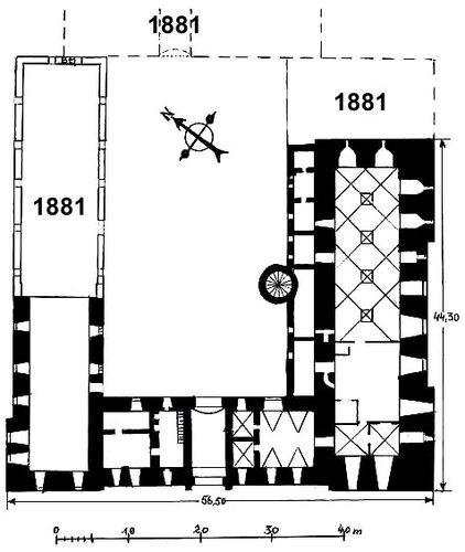 План замка с достроенными в 1881 г. частями