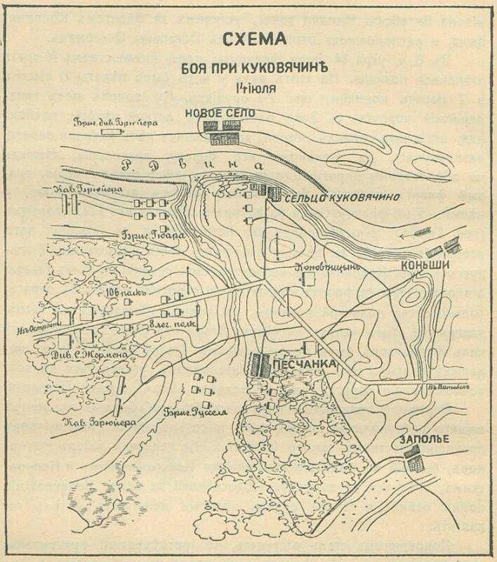 Схема боя при Куковячине 14 июля 1812 года.