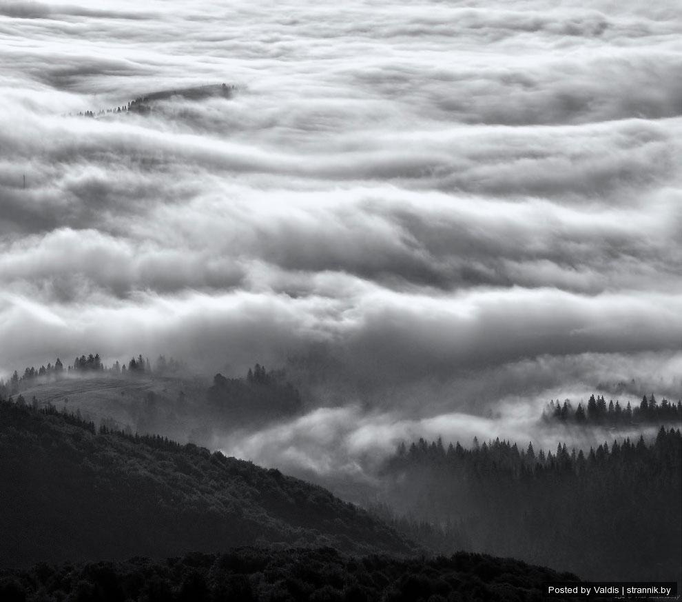 Туман оказался далековат для съемки, пришлось спуститься немного вниз, хотя это того стоило. Как под