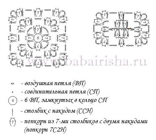 схема коврика из пакетов Георгин