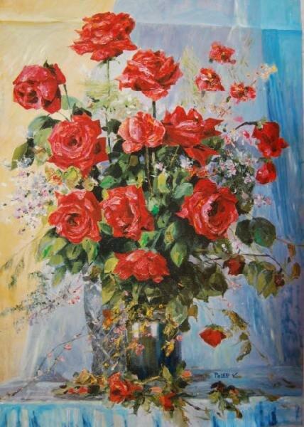 """розы. живопись. цветы.  Автор: Victor Peled. в галерею  """"Натюрморт """". натюрморт.  Родственные категории."""