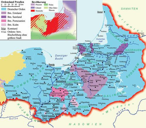 Карта земель Тевтонского ордена и епископств на территории Восточной Пруссии