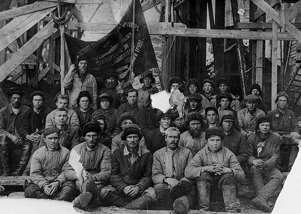 Group of workers who participated in the construction of Kuznets Steel Factory, 1930's.