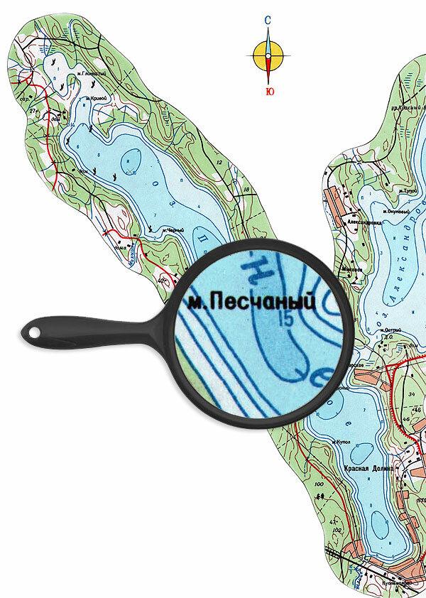Карта глубин озера Пионерское