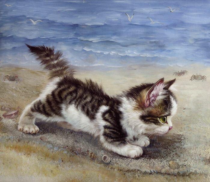 Даже нарисованные кошки очень милые.