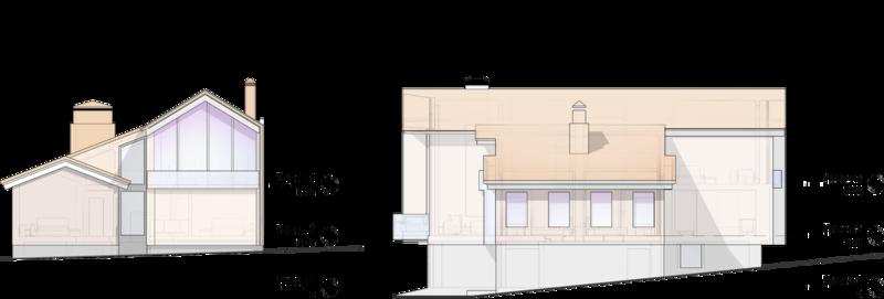 Боковой фасад жилого дома на 350кв.м Проектом предполагается оформить фасады негорючими панелями с матовой поверхностью с стойким антивандальным покрытием, имитирующим текстуру темного дерева.