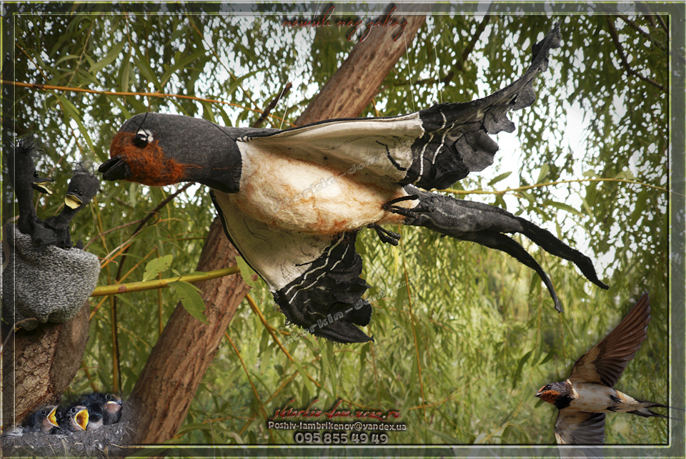 птица из ткани. ласточка