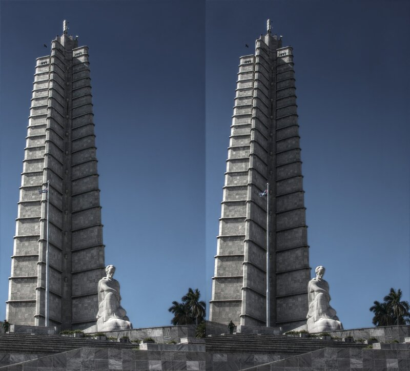 Мемориал Хосе Марти. Площадь Революции. Стереопара, перекрёстная стереопара, 3D, X3D, стерео фото, crossstereopairs, stereo photo, stereoview