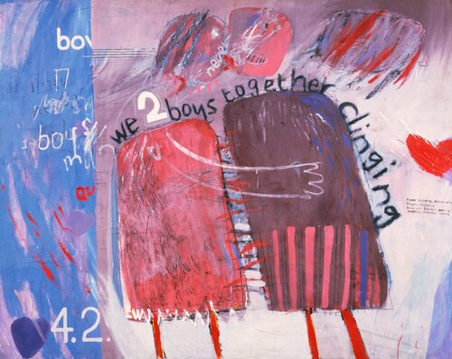 """""""WE TWO BOYS TOGETHER CLIINGING"""" 1961<br /><br /><br /><br /><br /><br /><br /><br /><br /><br /><br /><br /><br /><br />OIL ON BOARD<br /><br /><br /><br /><br /><br /><br /><br /><br /><br /><br /><br /><br /><br />48 X 60""""<br /><br /><br /><br /><br /><br /><br /><br /><br /><br /><br /><br /><br /><br />© DAVID HOCKNEY<br /><br /><br /><br /><br /><br /><br /><br /><br /><br /><br /><br /><br /><br />COLLECTION: ARTS COUNCIL, SOUTHBANK CENTRE, LONDON"""