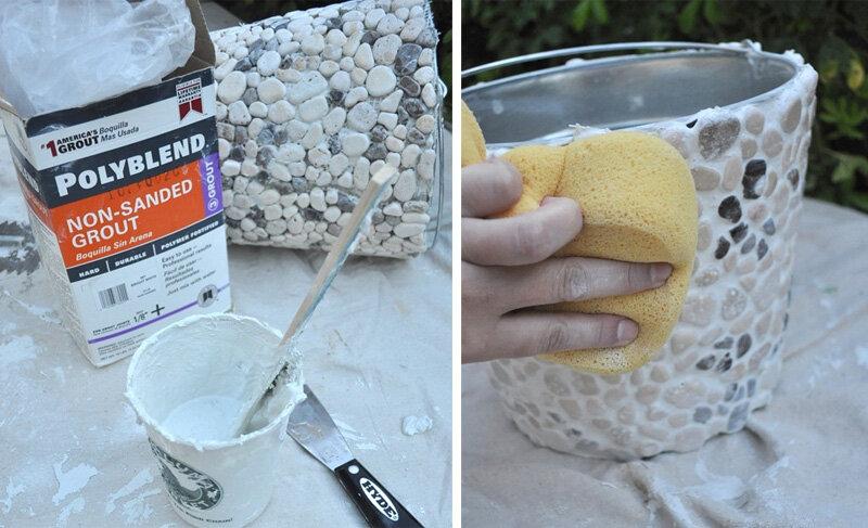 Как сделать вазон из гальки своими руками