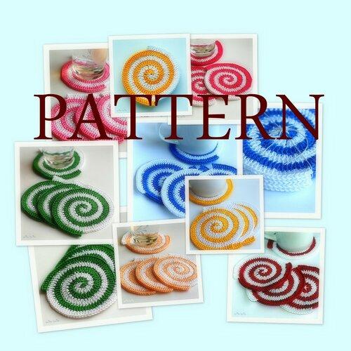 Crochet pattern. Spiral Crochet Coasters.