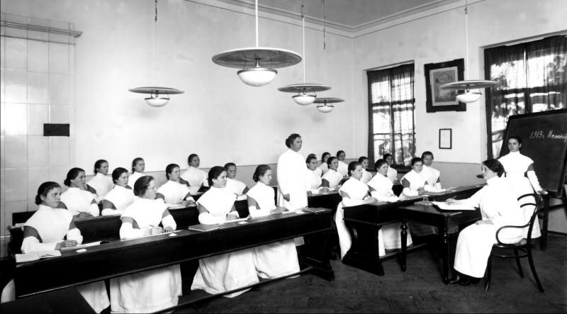 Lesson at a nursing school at the Imperial Orphanage, Saint-Petersburg, 1913. Photo taken by Karl Bulla.