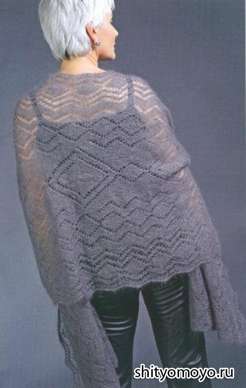 Шаль платок связанная спицами