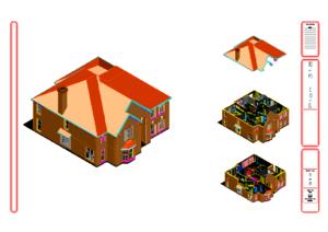 Трехмерный проект каркасного дома.