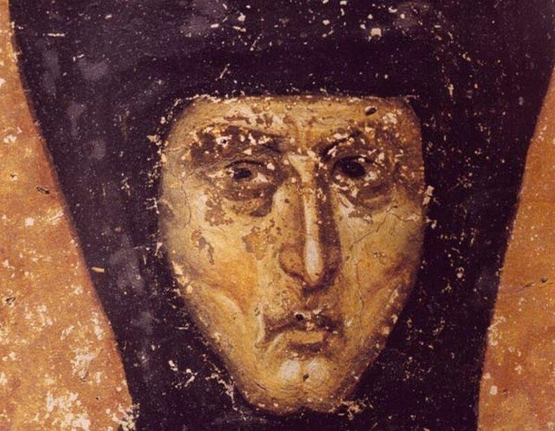 Святая Преподобная Елена, Королева Сербская. Фреска монастыря Грачаница, Косово, Сербия. Около 1320 года. Фрагмент.