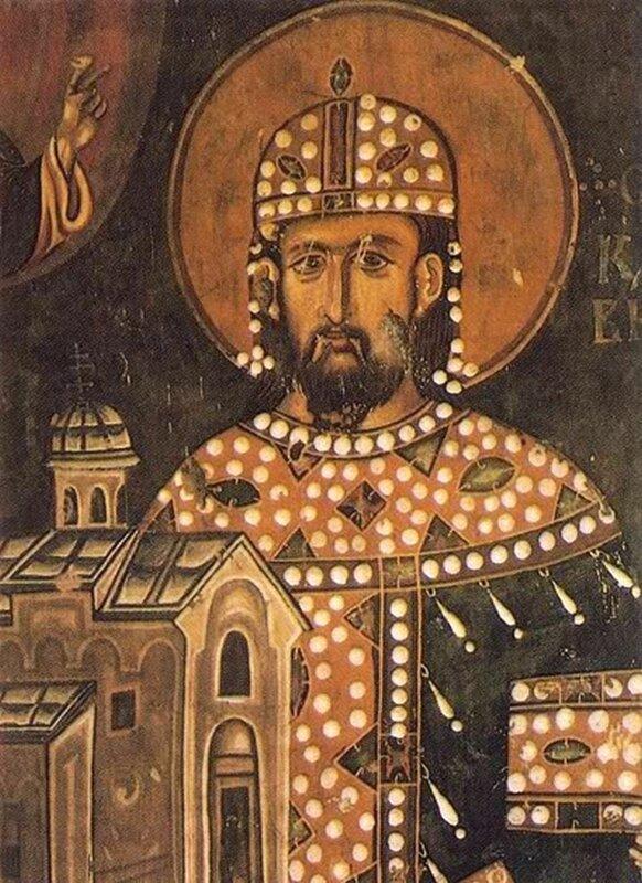 Святой Краль Стефан Драгутин. Фреска церкви Св. Ахиллия в Арилье, Сербия. 1296 год.