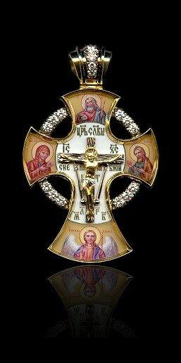 Изготовлен из золота 750 пробы с использованием техники живописной эмали.  Изготовление на заказ нательных крестов...