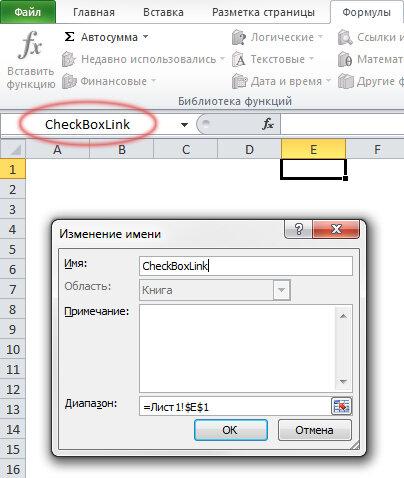 Рис. 2.3. Ячейка Е1 с именем CheckBoxLink