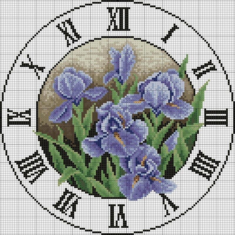 Часы цветы схема вышивки крестом.
