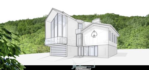 Жилой дом особняк 350кв. метров. Проект жилого дома, для семьи, состоящей из 5-ти человек, запроектирован двумя сооружениями с мансардой, объединенных центральной лестницей.