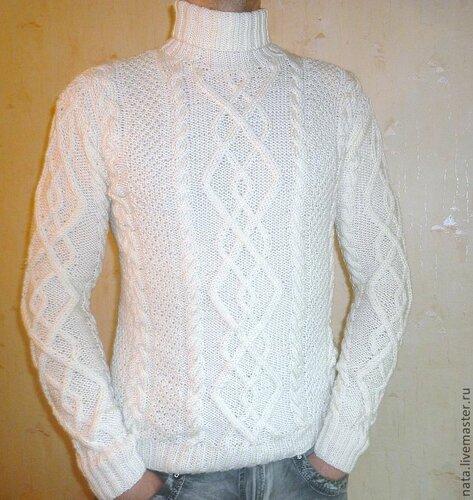 мужской свитер с аранами ,ручная работа ,натуральная шерсть.