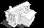 Следующая иллюстрация. Перспективный вид плана мансарды. Жилой дом, особняк.