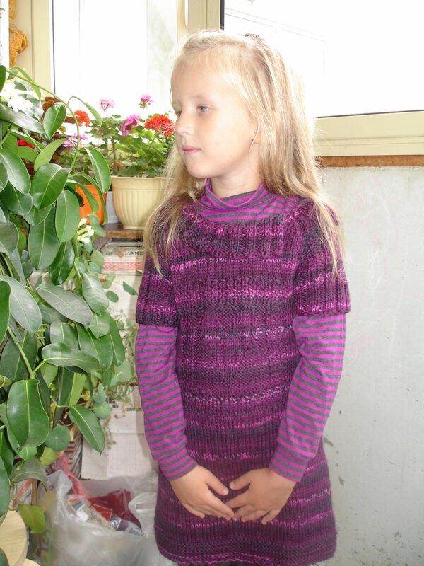 Вязание спицами туники для девочек.