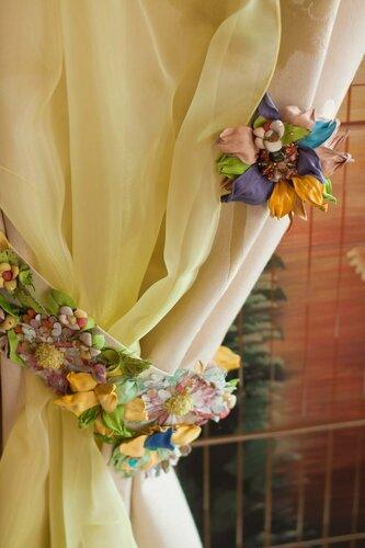 "Комплект декора для штор ""Райский сад"", декор, интерьер, птицы, броши, цветы"