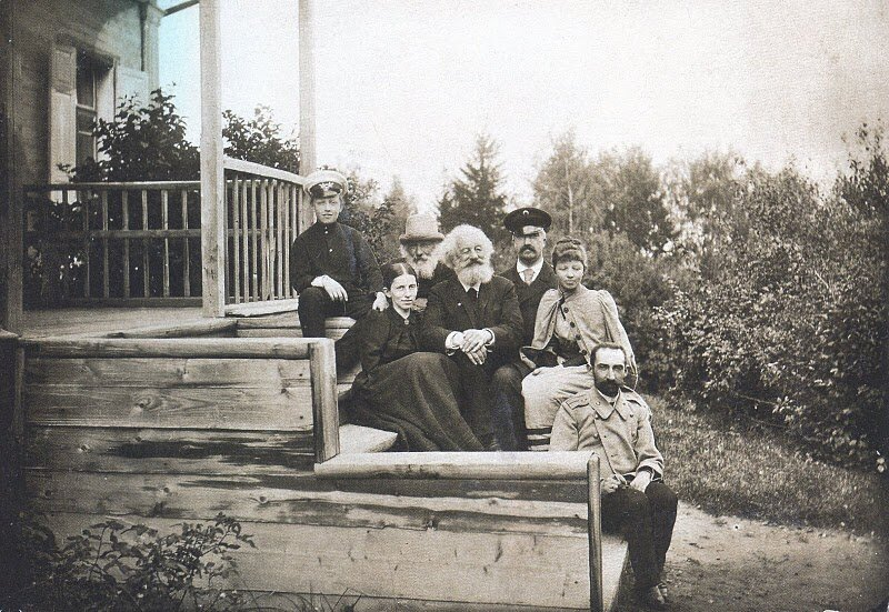 Aleksandr Blok with his grandfather, great-uncle, aunt, mother, and stepfather in Shakhmatovo, 1894.