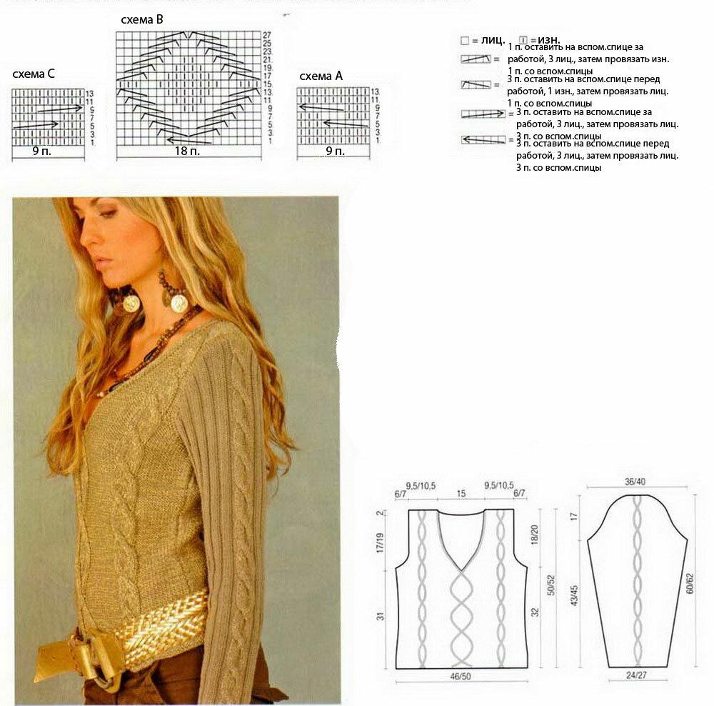 Вязание спицами рукав для кофты 89