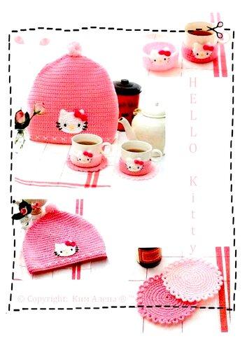 Чайный наборчик Hello Kitty ... вяжем крючком.