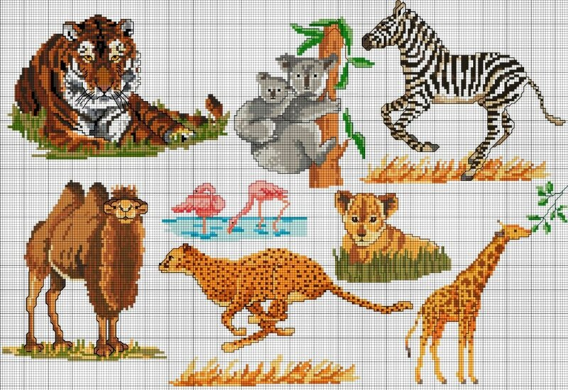 Африканский набор - я бы так назвала эту подборку схем для вышивки крестом.