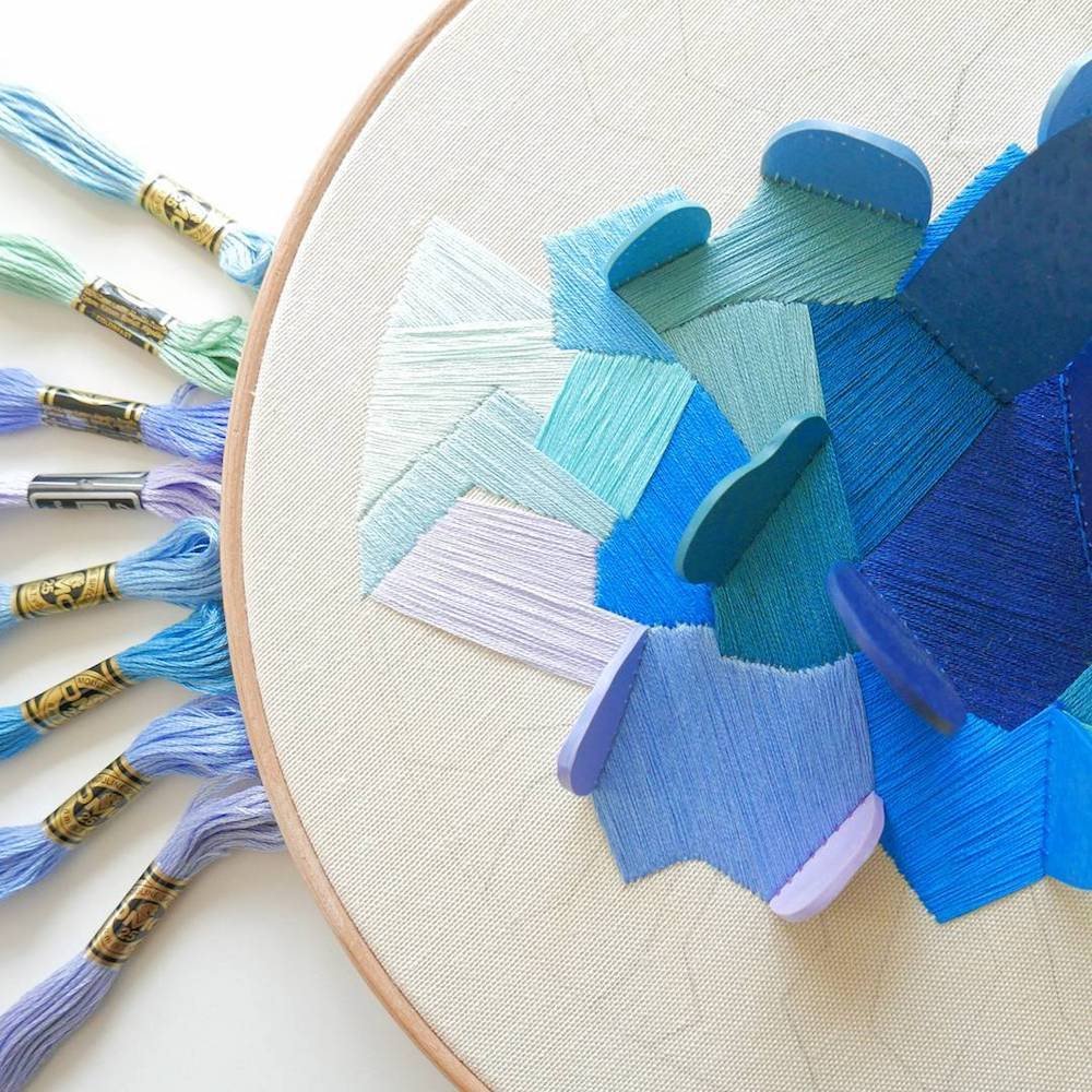 Three-Dimensional Hoop Embroidery Accented With Clay by Justyna Wolodkiewicz