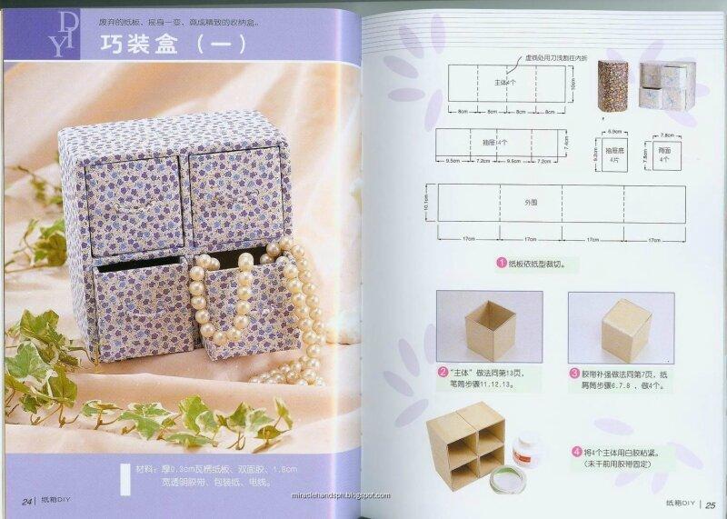 Вот ещё несколько красивых шкатулок из бумаги для хранения украшений и вообще для всяких безделушек.