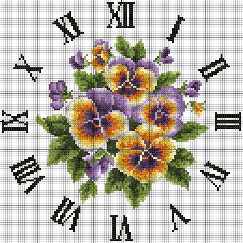 Схема вышивки крестом - Часы Виола - анютины глазки.