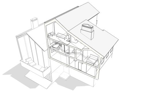 Разрез жилого дома по центральной лестнице вид сбоку