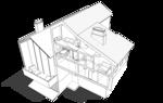 Разрез жилого дома по центральной лестнице вид сбоку. Проект.