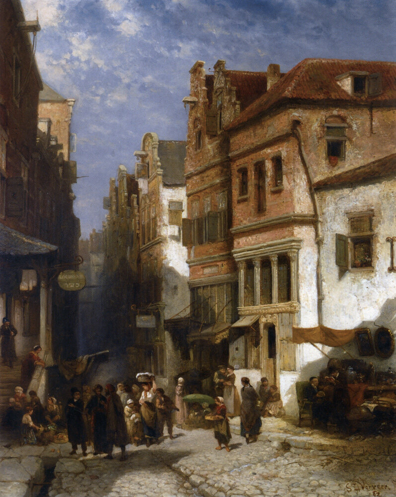 The Jewish Quarter,1862, Oil On Panel, by Salomon Leonardus Verveer, (1813-1876), Dutch, Private collection